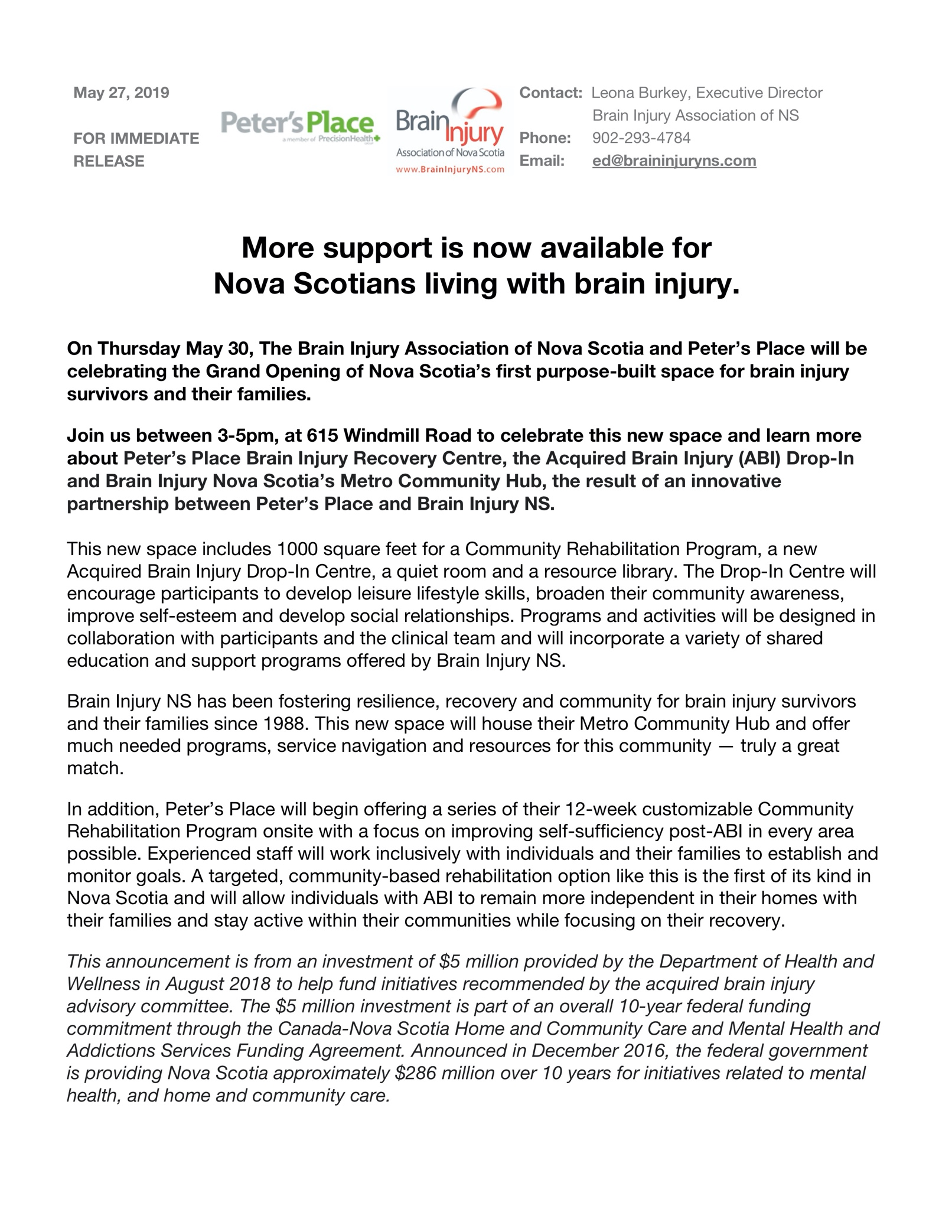 "Press Release for ""More support is now available for Nova Scotians living with brain injury"""