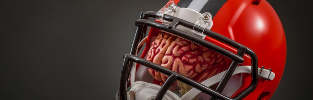 A brain inside a football helmet